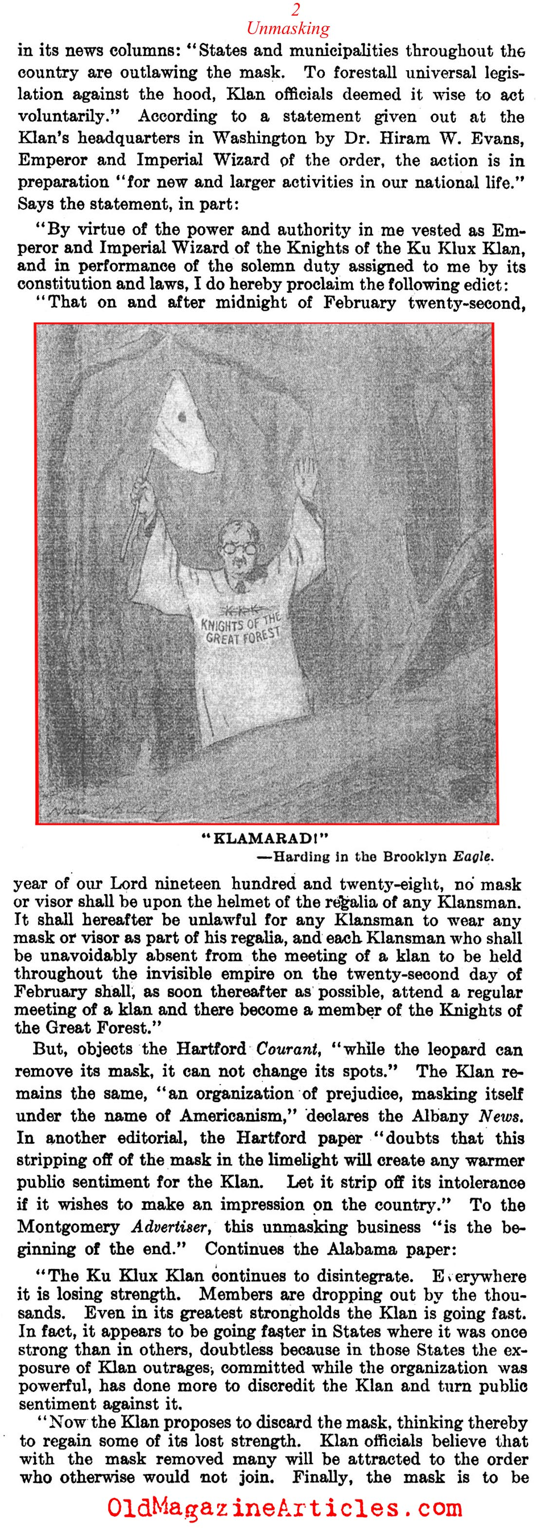 The KKK Fall from Fashion  (The Literary Digest, 1928)