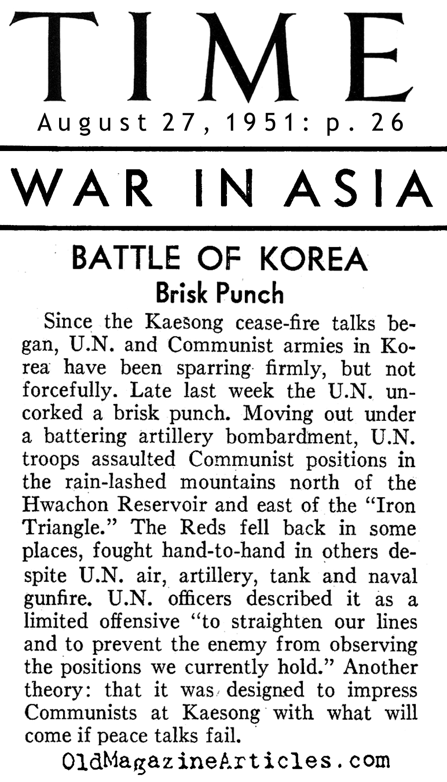 The Kaesong Cease-Fire (Time Magazine, 1951)