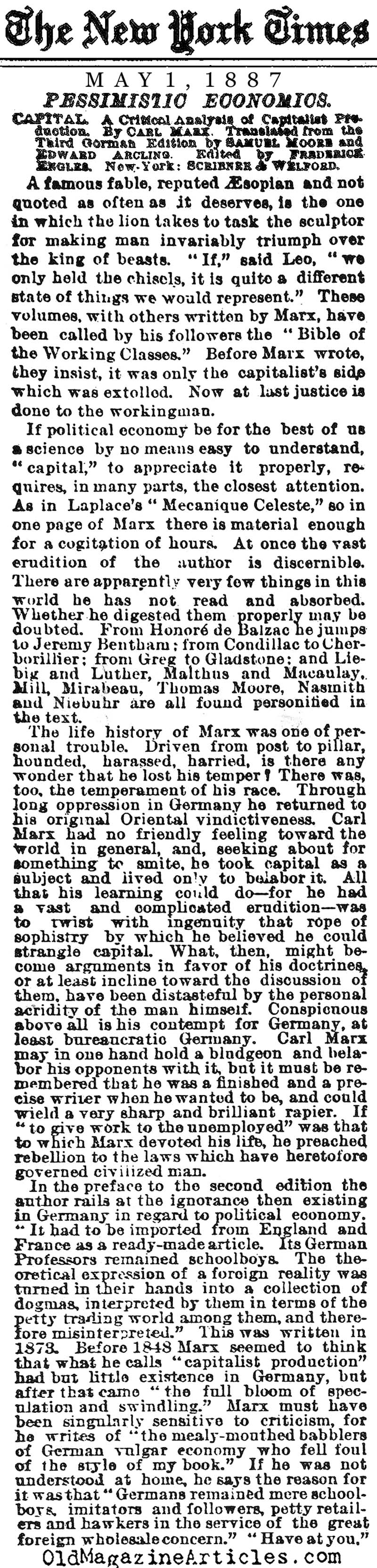 Karl Marx Reviewed (NY Times, 1887)