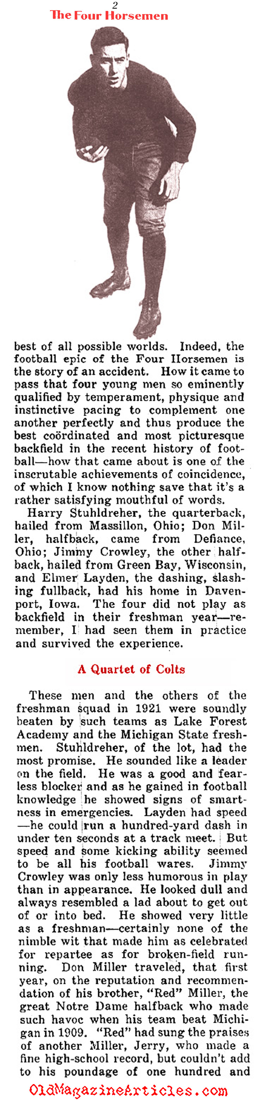 The Four Horsemen and Knute Rockne in His Own Words (Collier's Magazine, 1930)