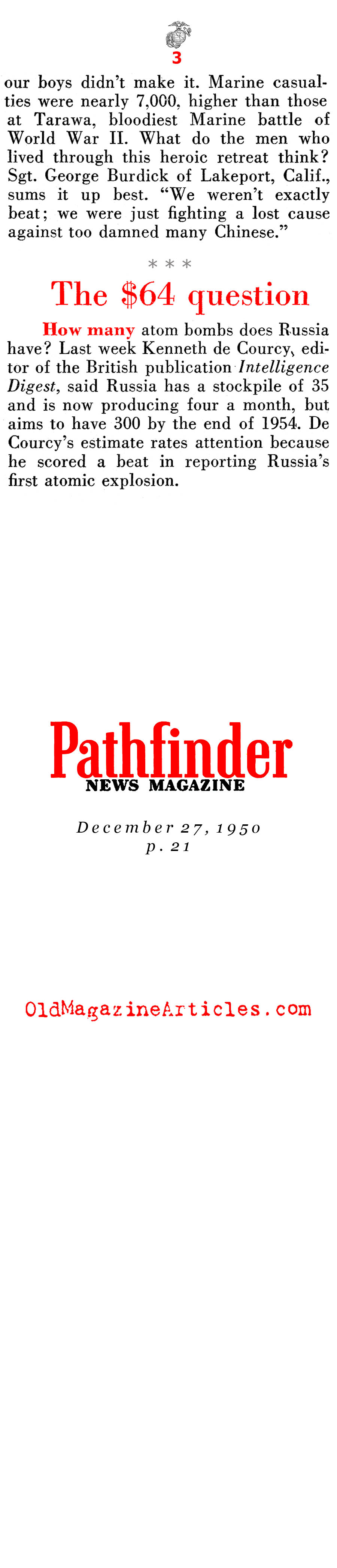 The March from Chosin to the Sea (Pathfinder Magazine, 1950)
