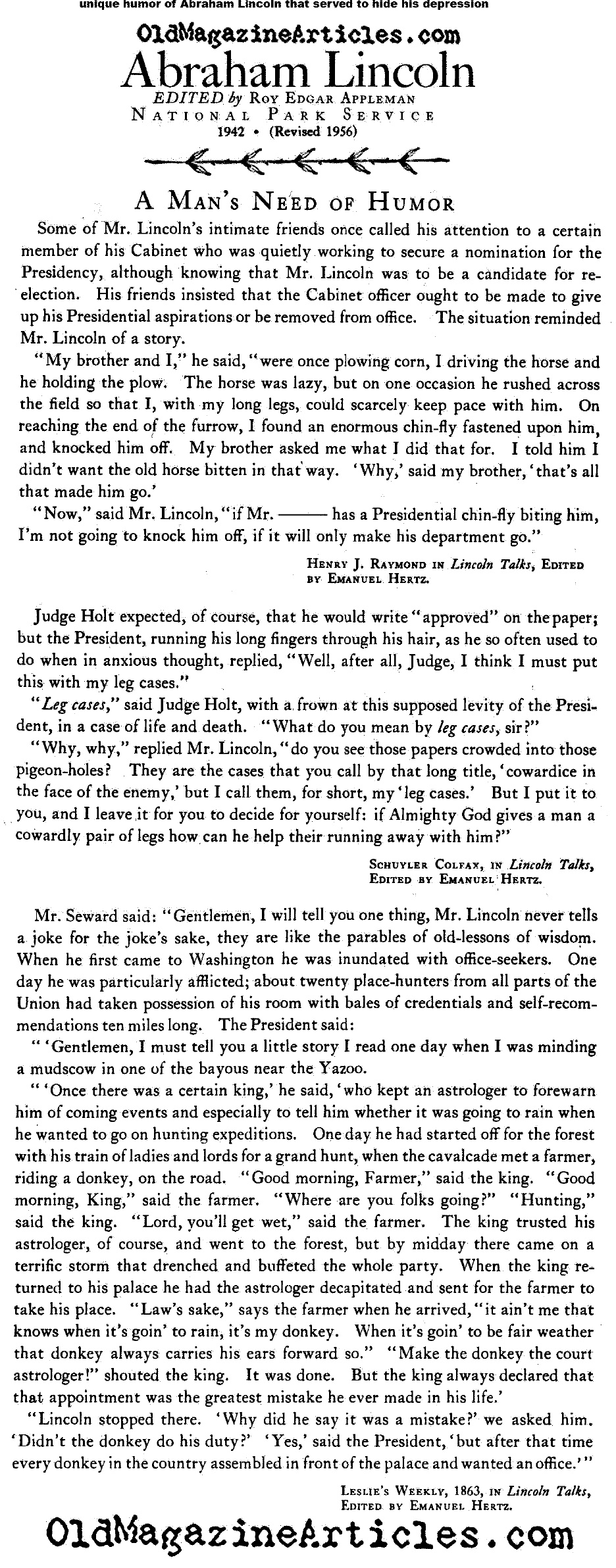 The Depression and Humor of President Lincoln (National Park Service, 1956)