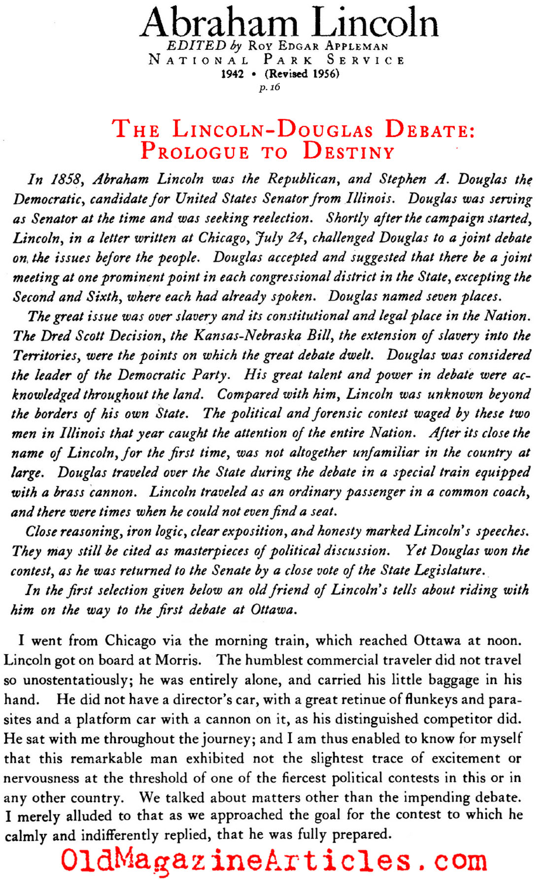 Traveling to the Lincoln - Douglas Debate (National Park Service, 1956)