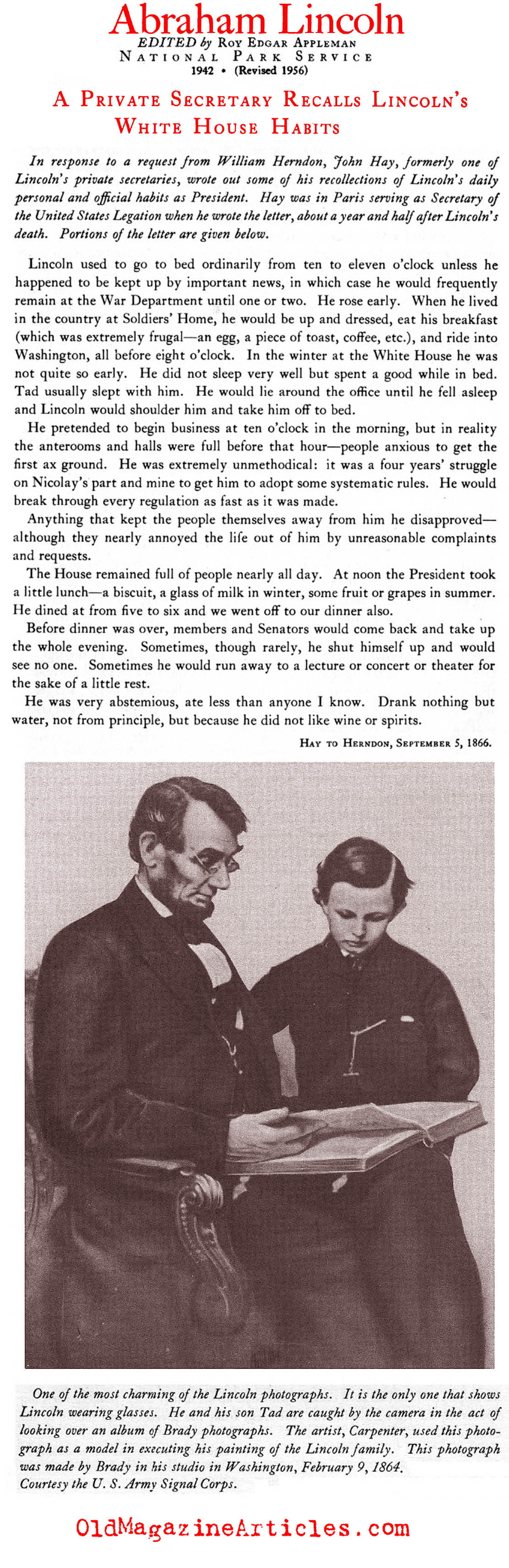 John Hay Recalls Lincoln (National Park Service, 1956)