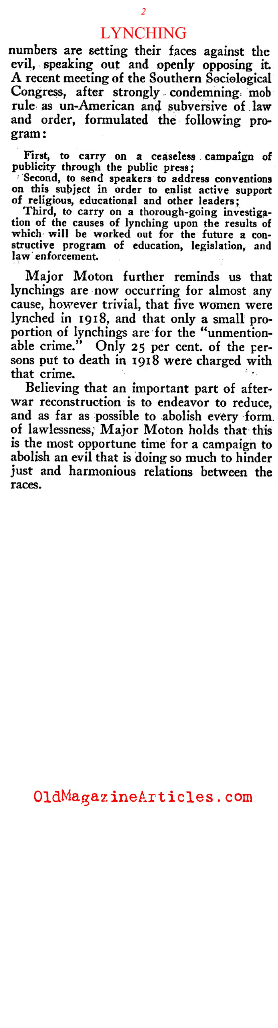 The Lynching Evil as Understood by Robert Moton (Review of Reviews, 1919)