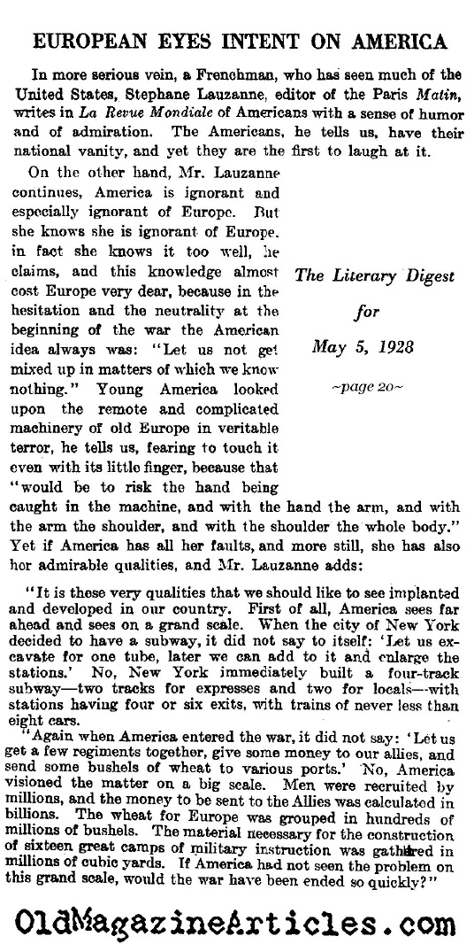 America Commits Itself to the War (Literary Digest, 1928)