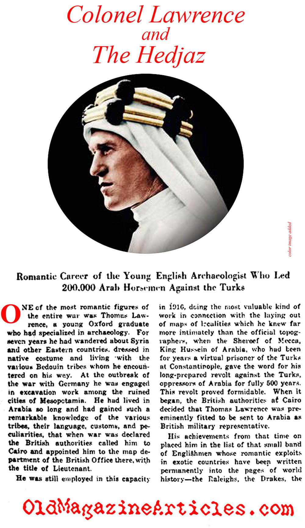 T.E. Lawrence (New York Times, 1919)