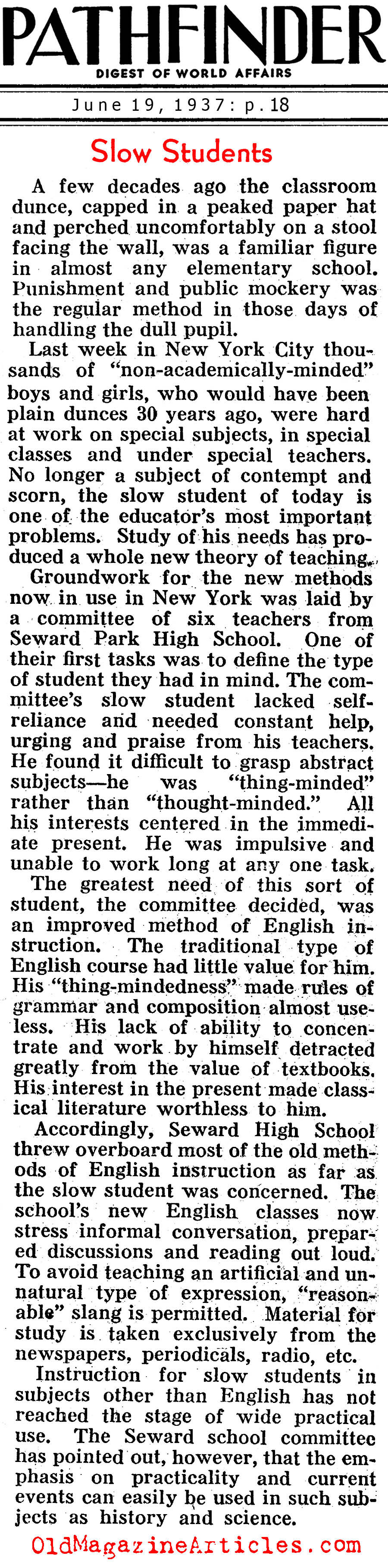 Trying to Understand Learning Disabilities (Pathfinder Magazine, 1937)