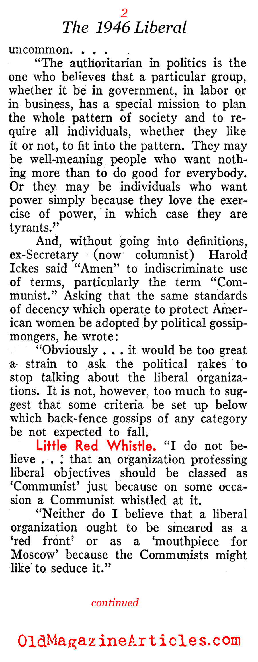 Defining the Left and the Right (Pathfinder Magazine, 1946)