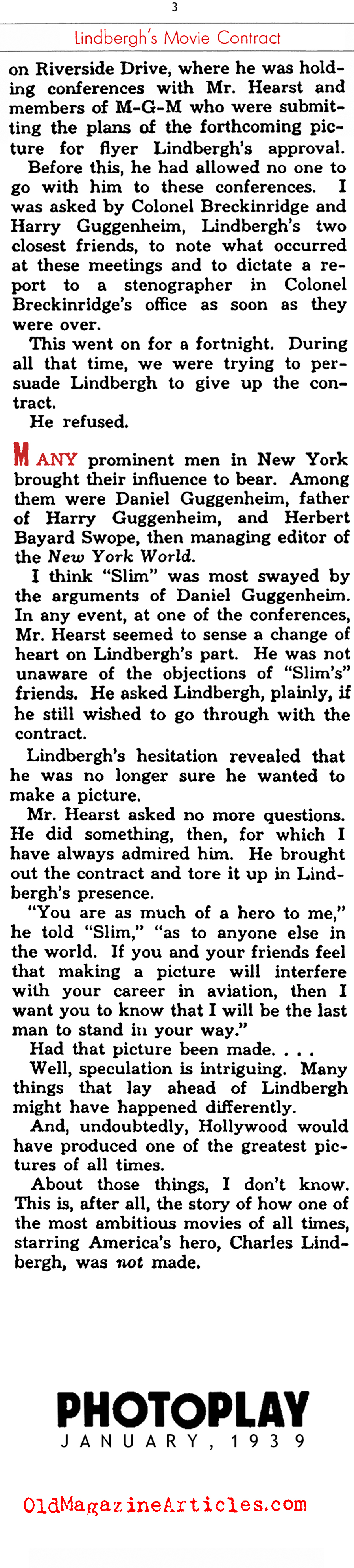 Lindbergh's Movie Contract (Photoplay Magazine, 1939)