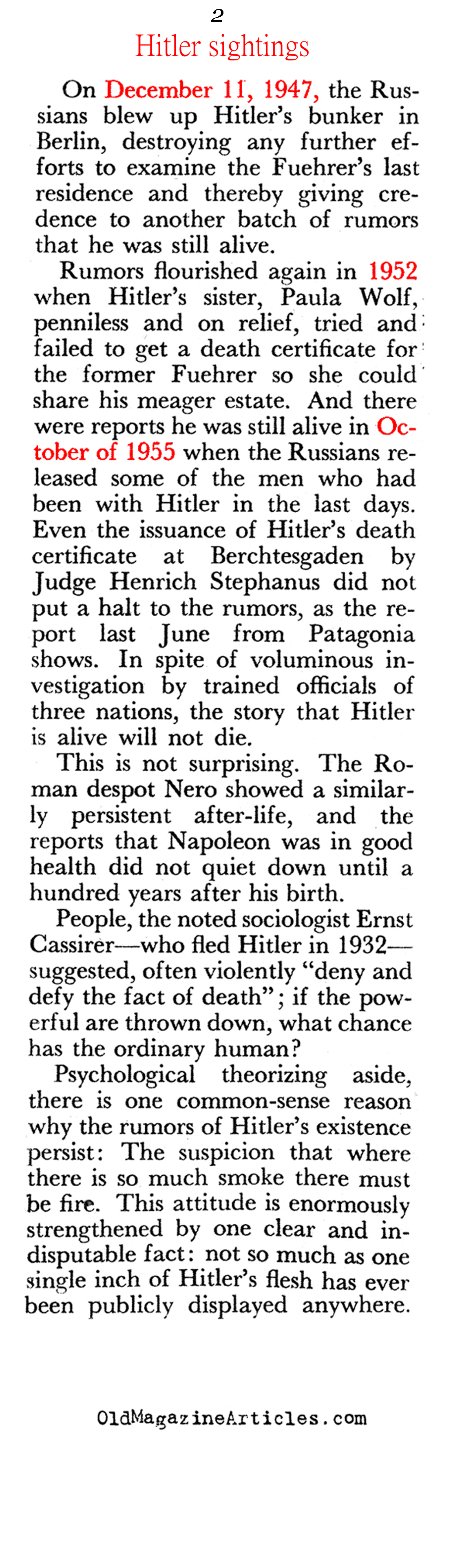 A Chronological List of the Earliest Hitler Sightings Pageant, 1960)