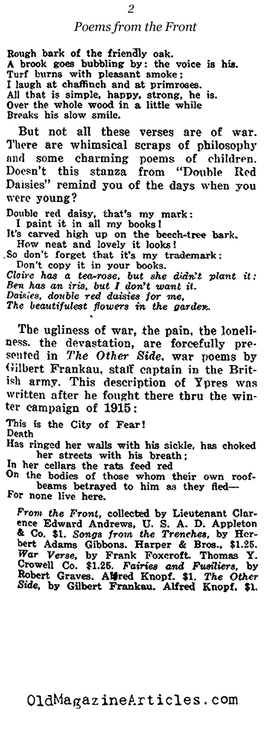 Three Collections of War Poetry Reviewed (The Independent, 1919)