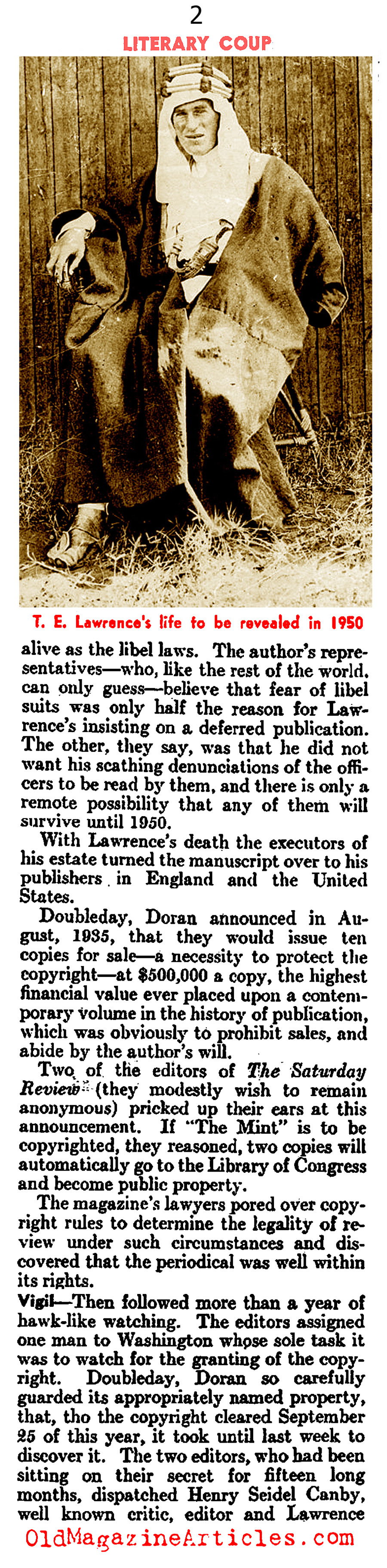 T.E. Lawrence and the Literary Coup of 1935 (Literary Digest, 1935)