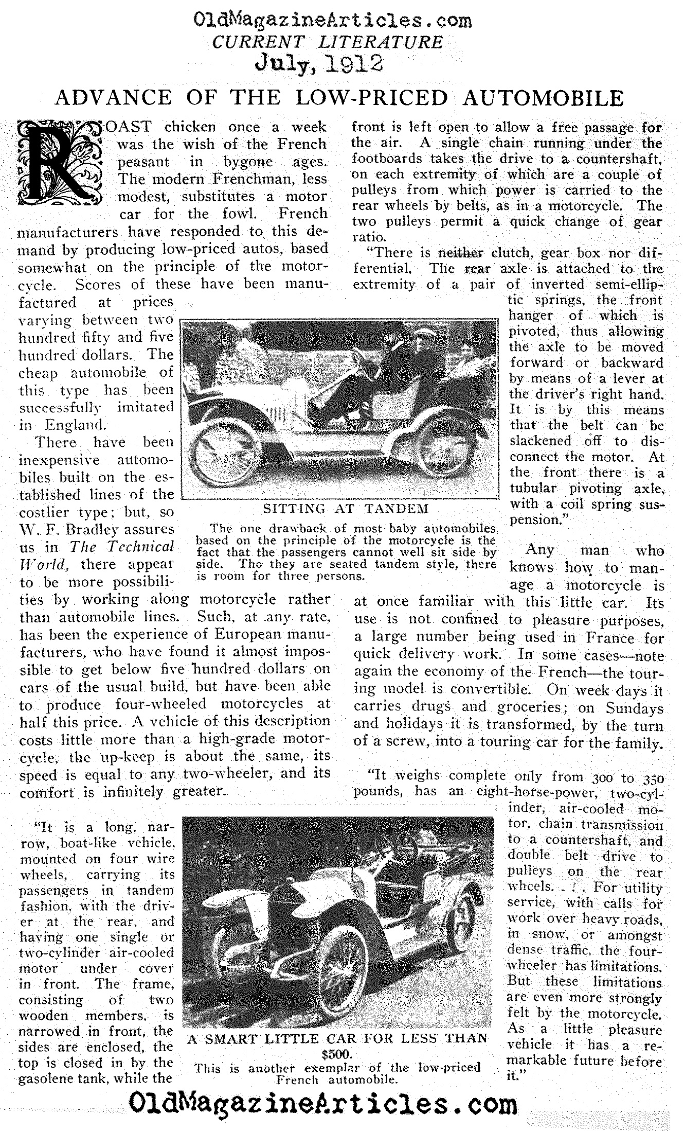 Advance of the Low-Priced Automobile (Current Literature, 1912)