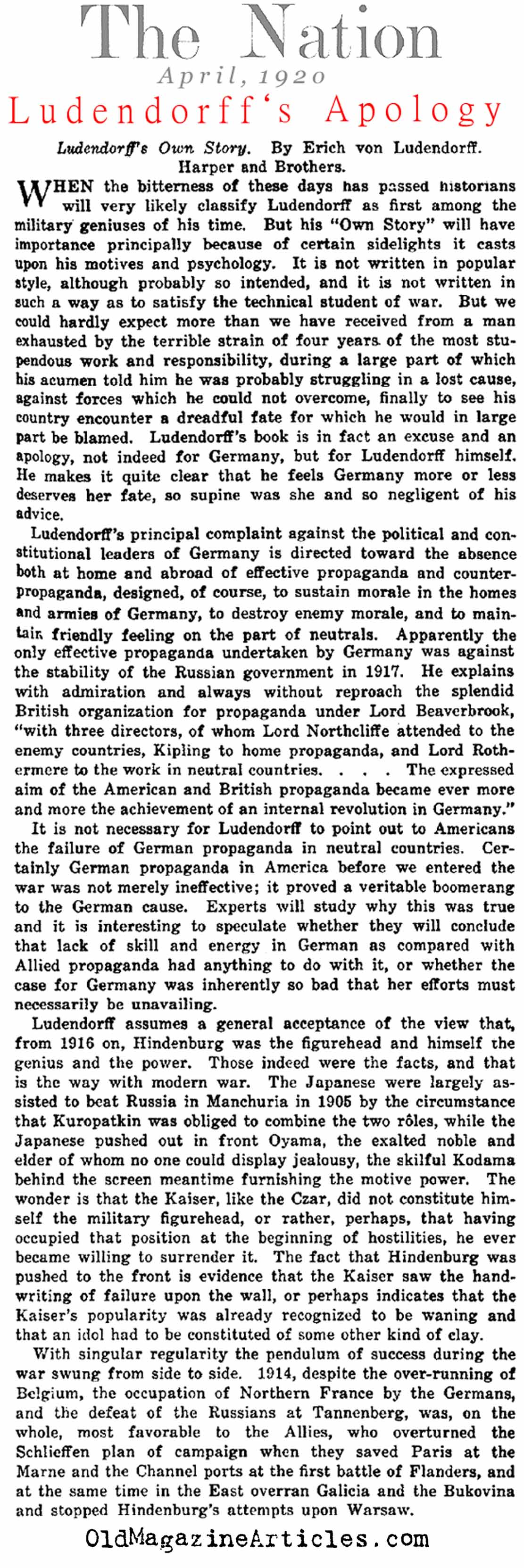 Ludendorff's Apology (The Nation, 1920)