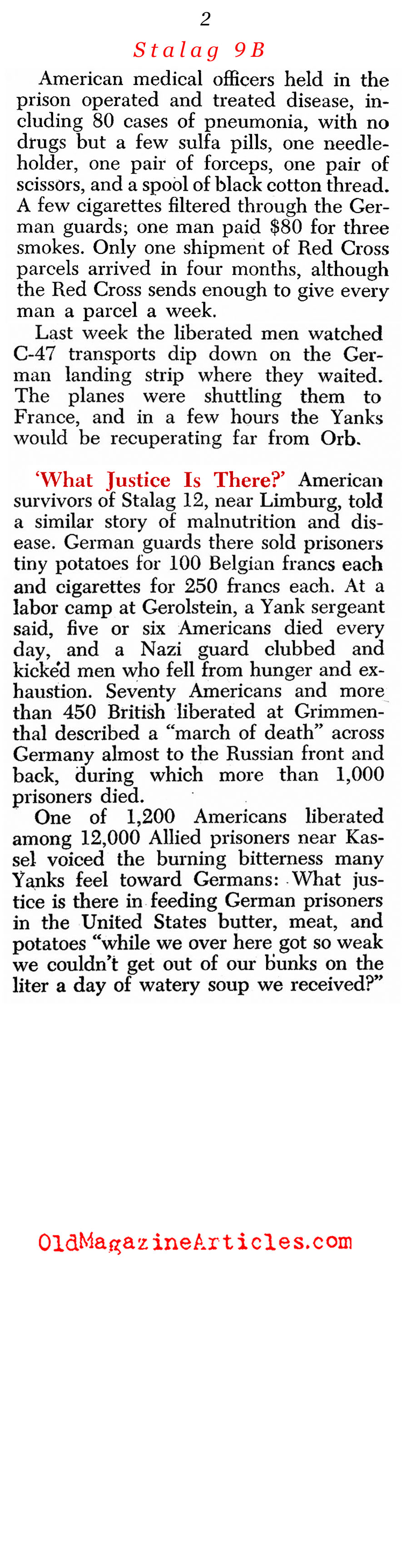 Nightmare At Stalag IXB (Newsweek Magazine, 1945)