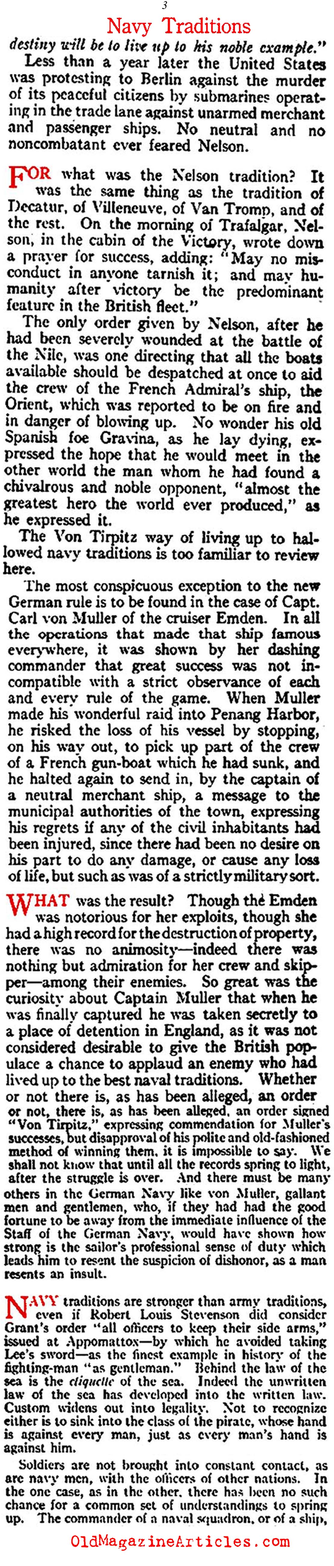 The Lusitania Attack and the Violation of Naval Traditions (Vanity Fair Magazine, 1915)
