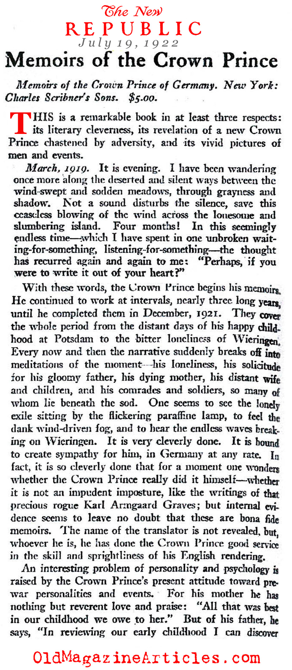 A Review of the Memoir by the Crown Prince (The New Republic, 1922)