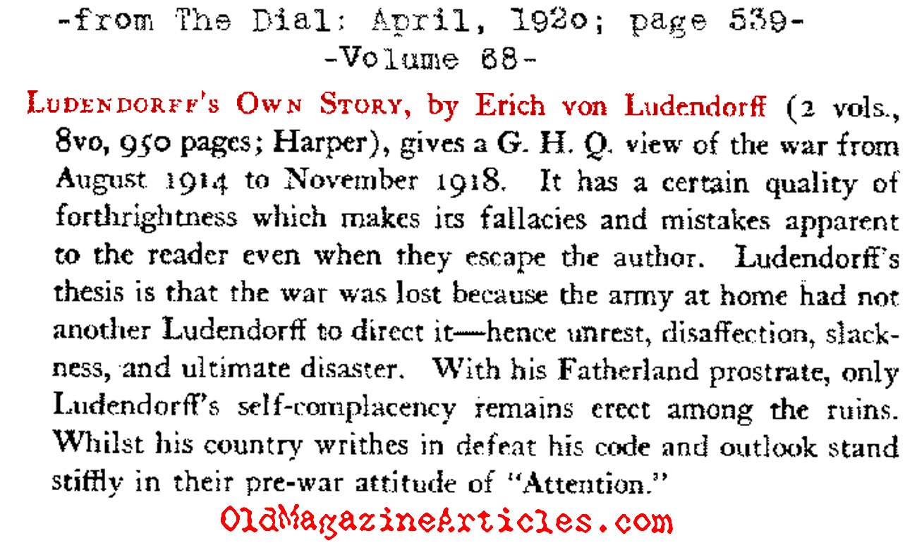 General Von Ludendorff Defends Himself  (The Dial Magazine, 1920)