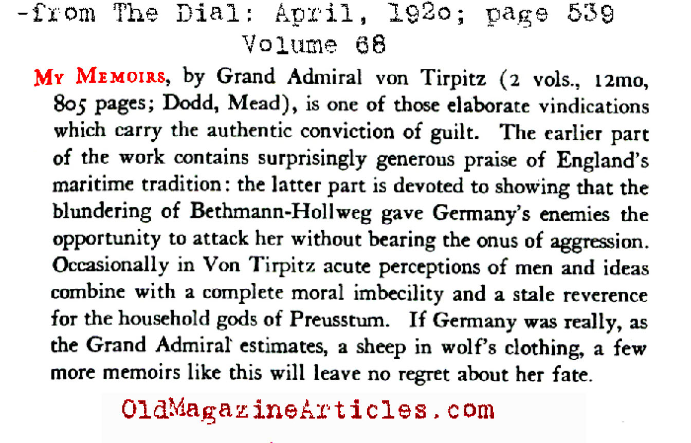 A Review of Grand Admiral Von Tirpitz Memoir (The Dial Magazine, 1920)