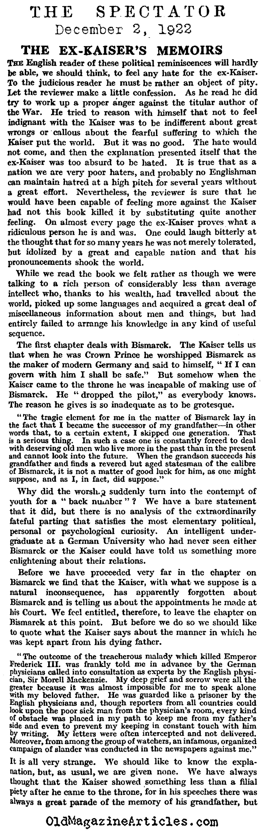 Review of Kaiser Welhelm's Memoir (The Spectator, 1922)