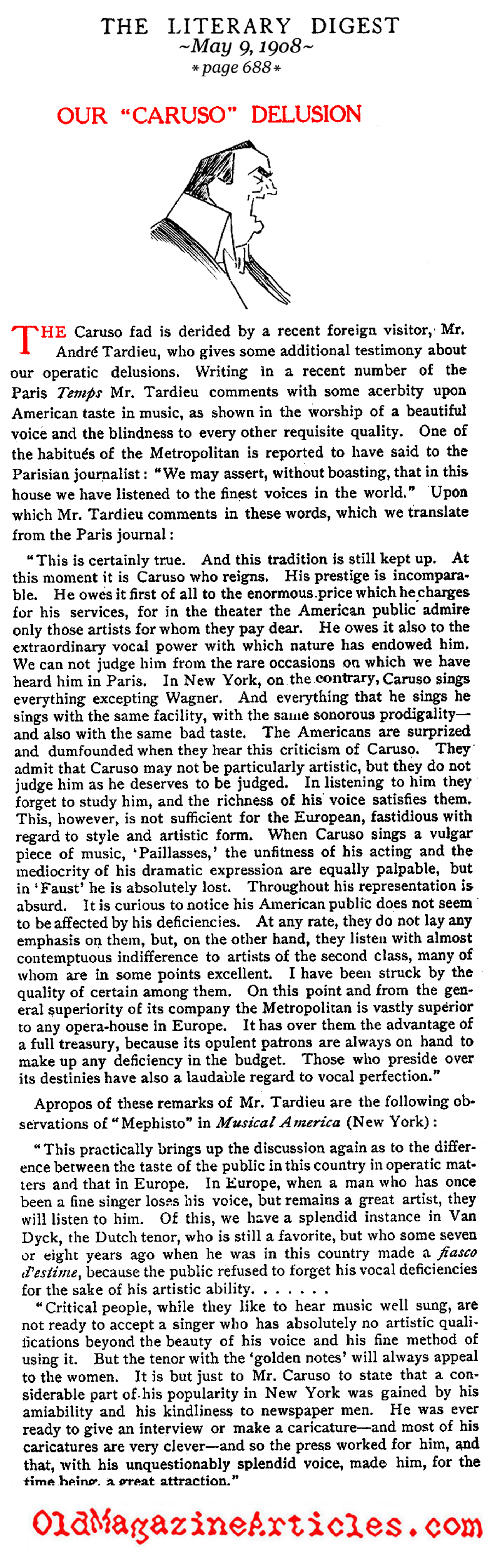 A Bad Review for Enrico Caruso  (The Literary Digest, 1908)