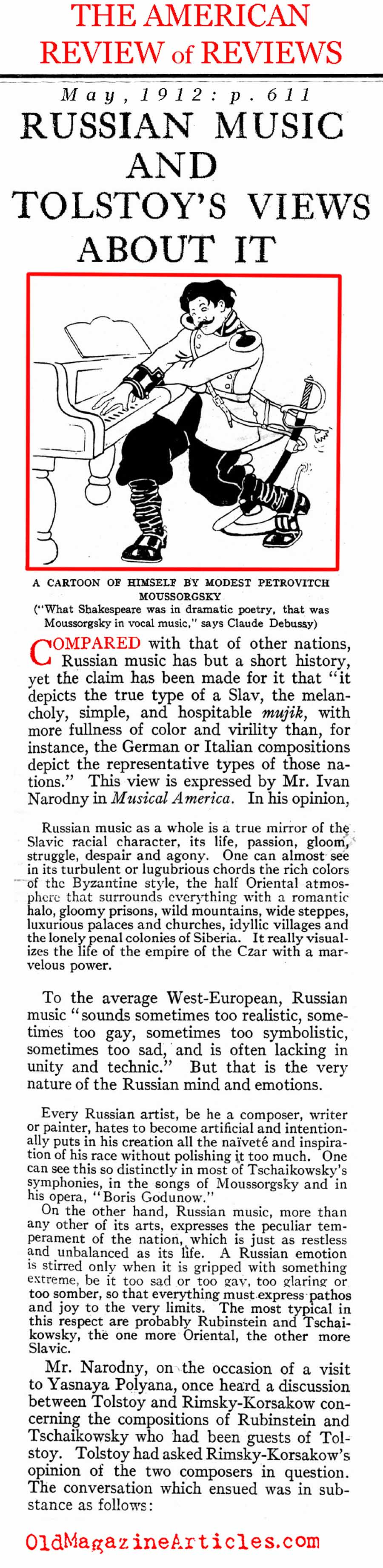 Russian Composers Preferred by Rimsky-Korsakov  (Review of Reviews, 1912)
