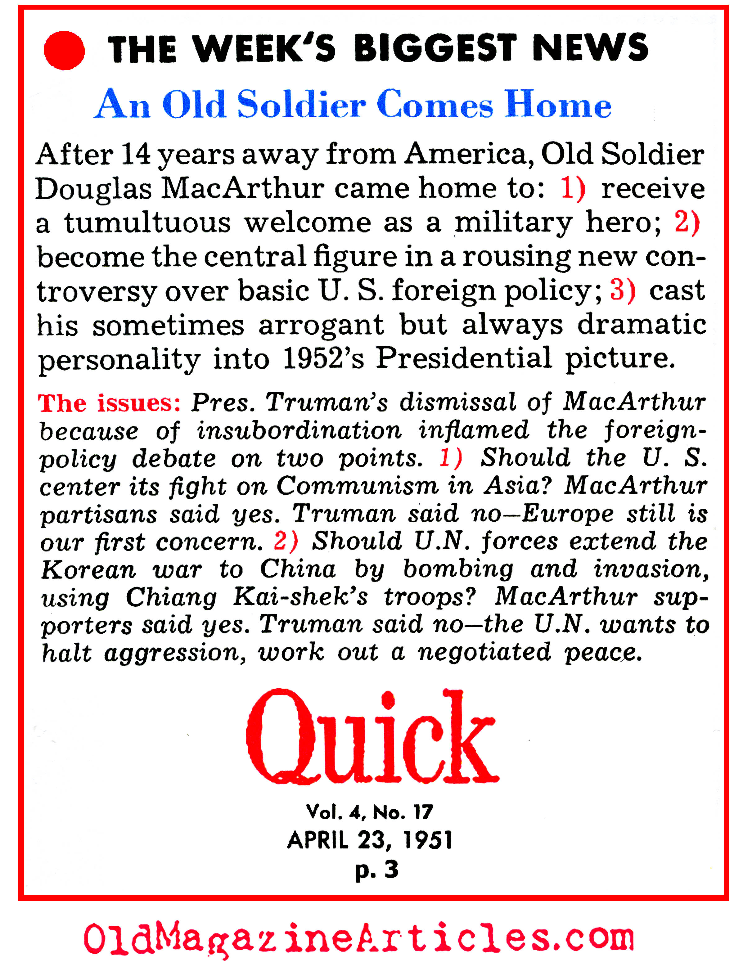 When Truman Fired MacArthur (Quick Magazine, 1951)