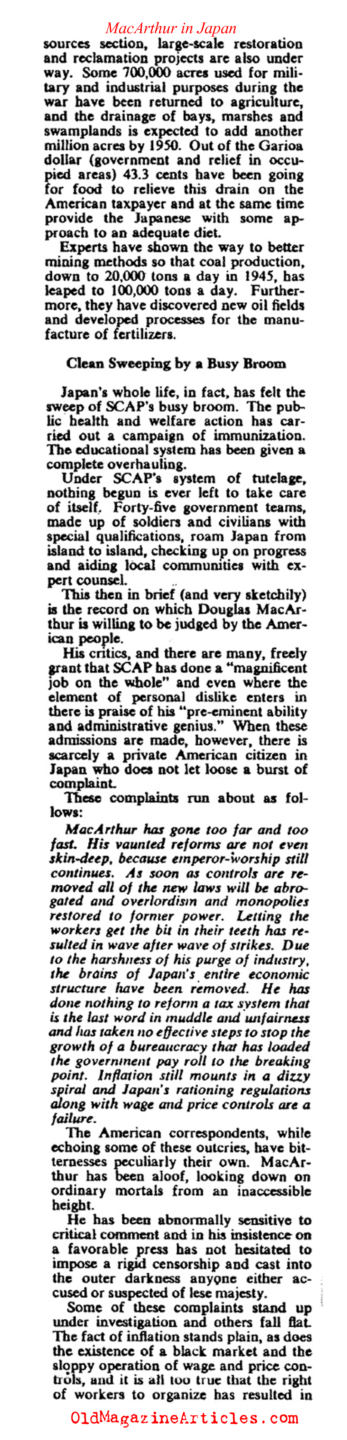 The Stewardship of General MacArthur (Collier's Magazine, 1948)