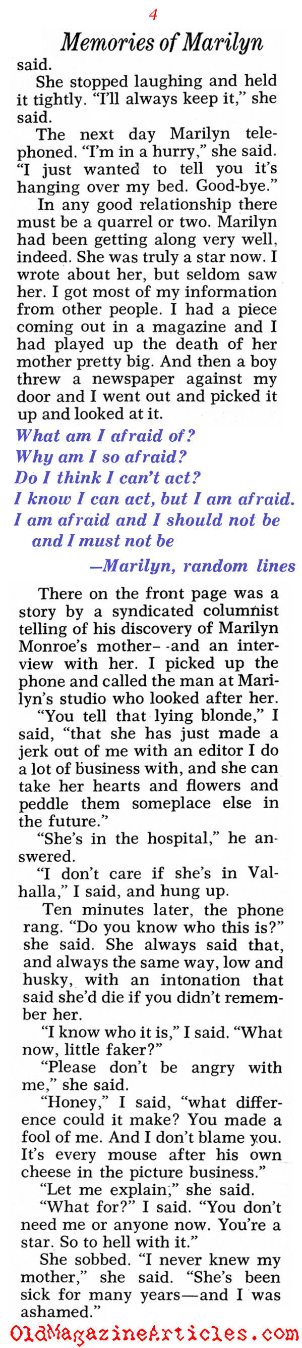 Warm Recollections of Marilyn (Pageant Magazine, 1971)