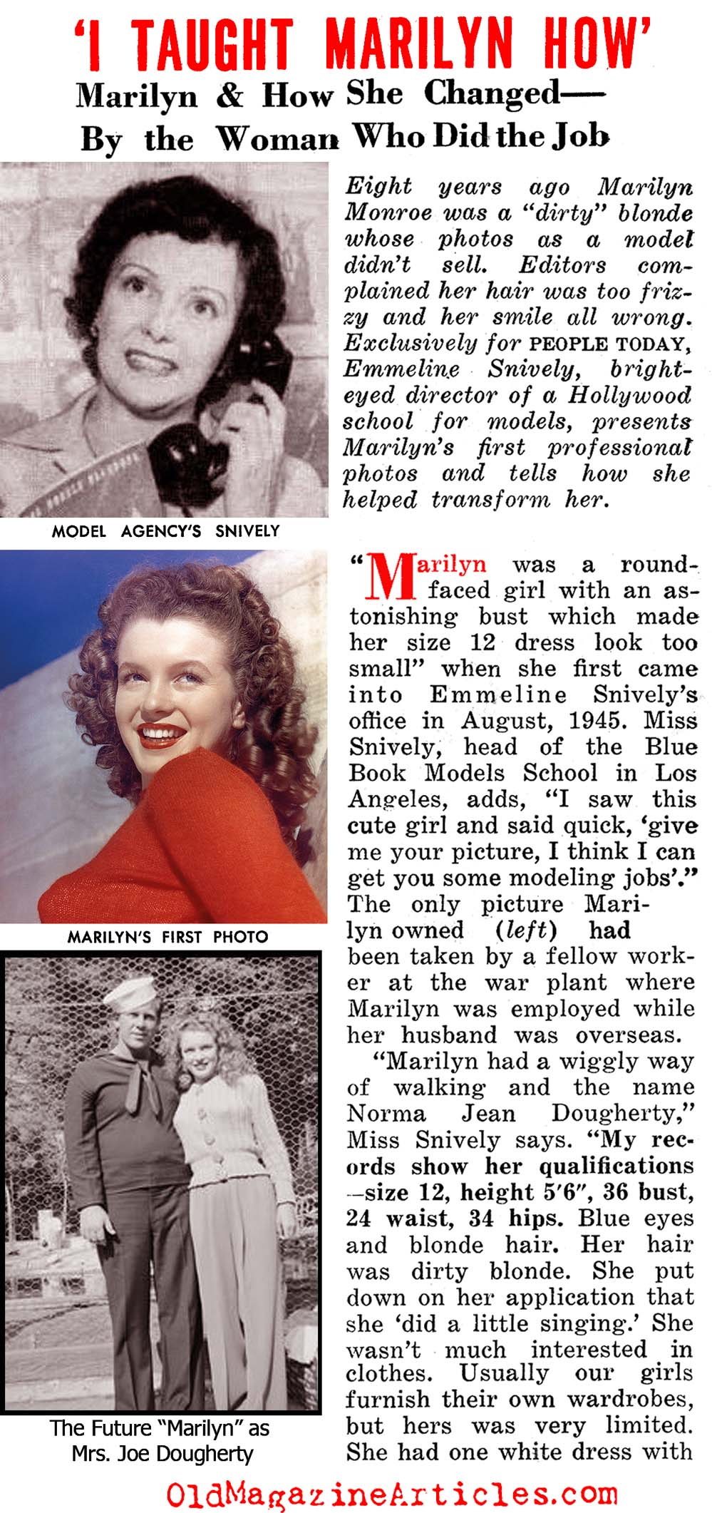 The Woman Who Created Marilyn Monroe (People Today Magazine, 1954)