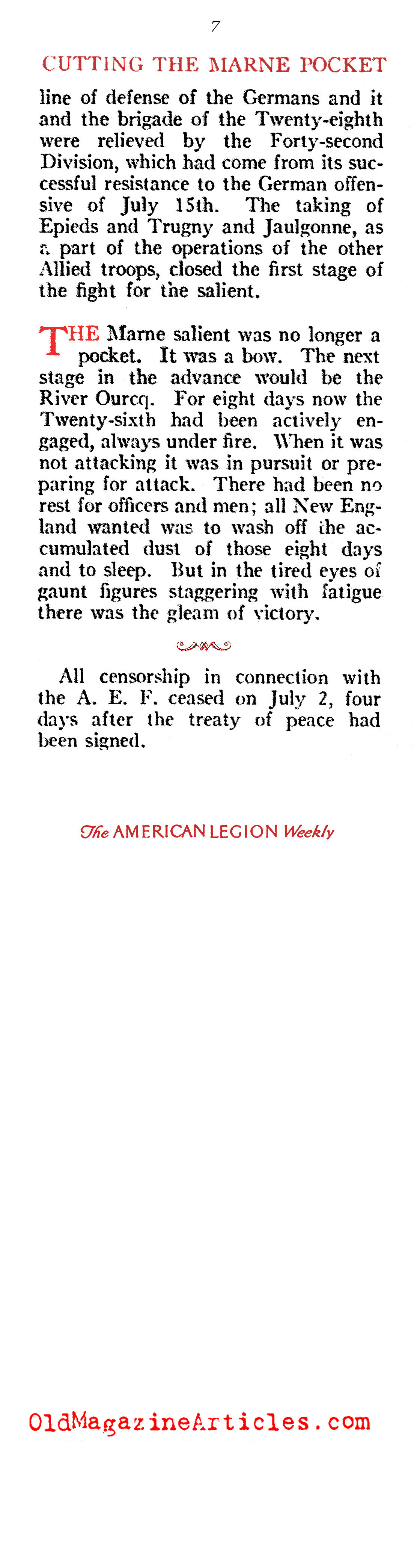 The Summer of 1918, pt. II (American Legion Weekly, 1919)