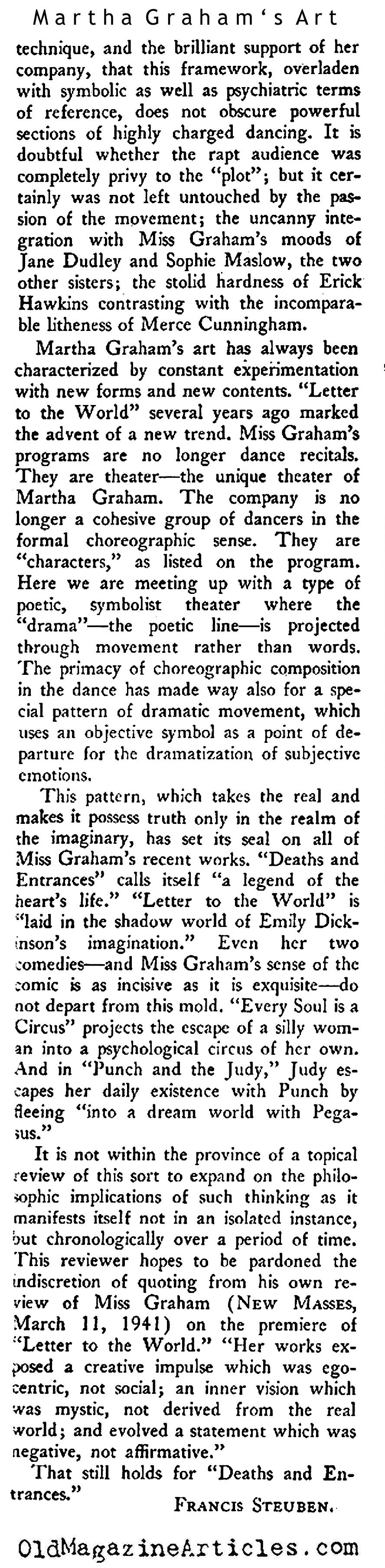 Martha Graham's Art (New Masses, 1944)