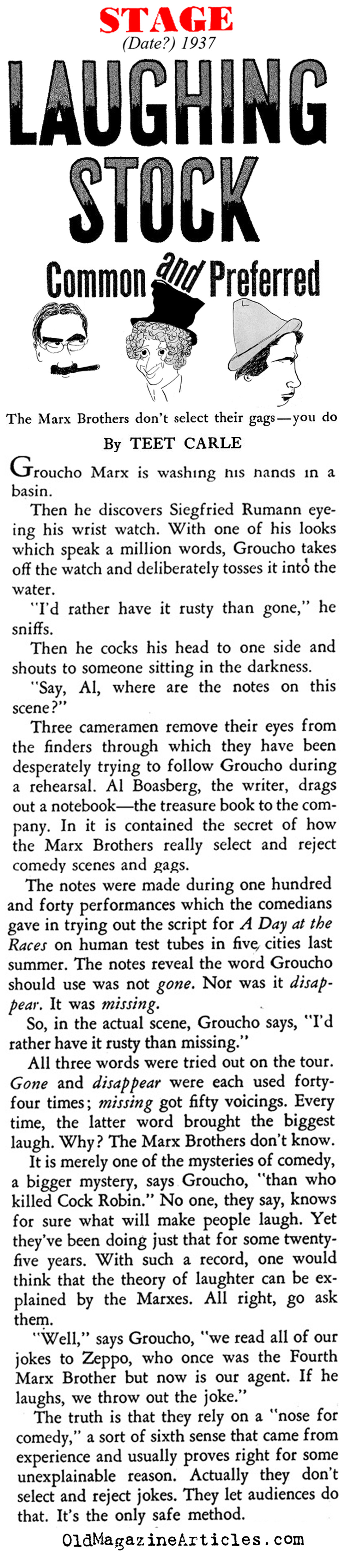 The Marx Brothers & the Joke Development Process (Stage Magazine, 1937)