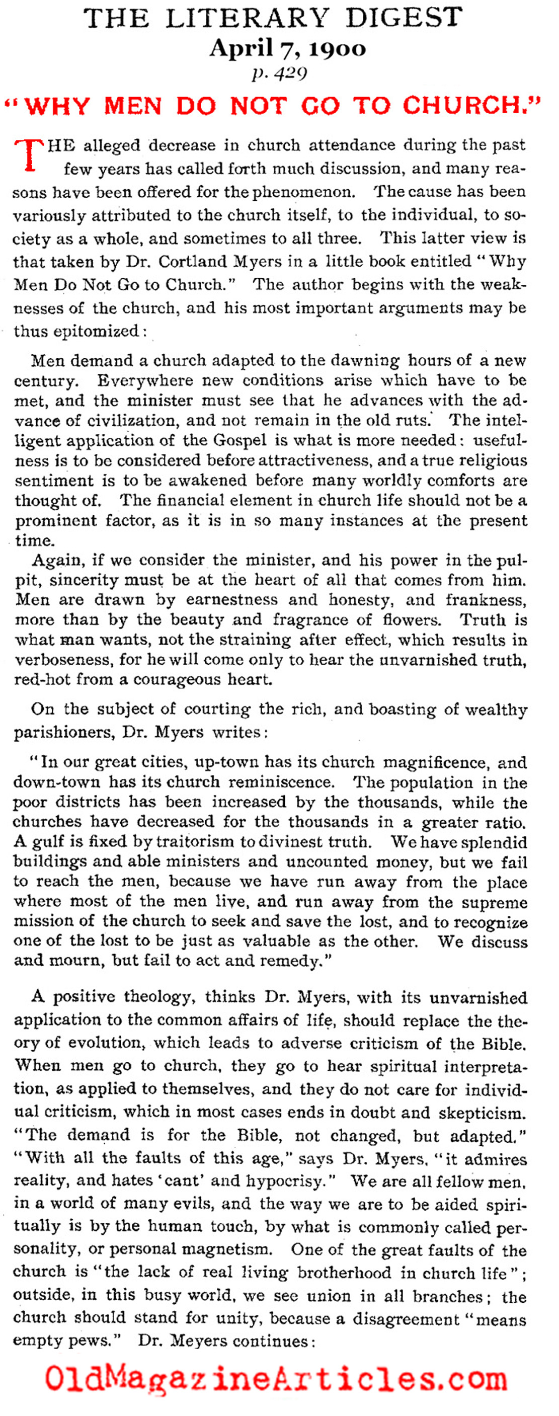 Why Men Don't Like to Go to Church (Literary Digest, 1900)