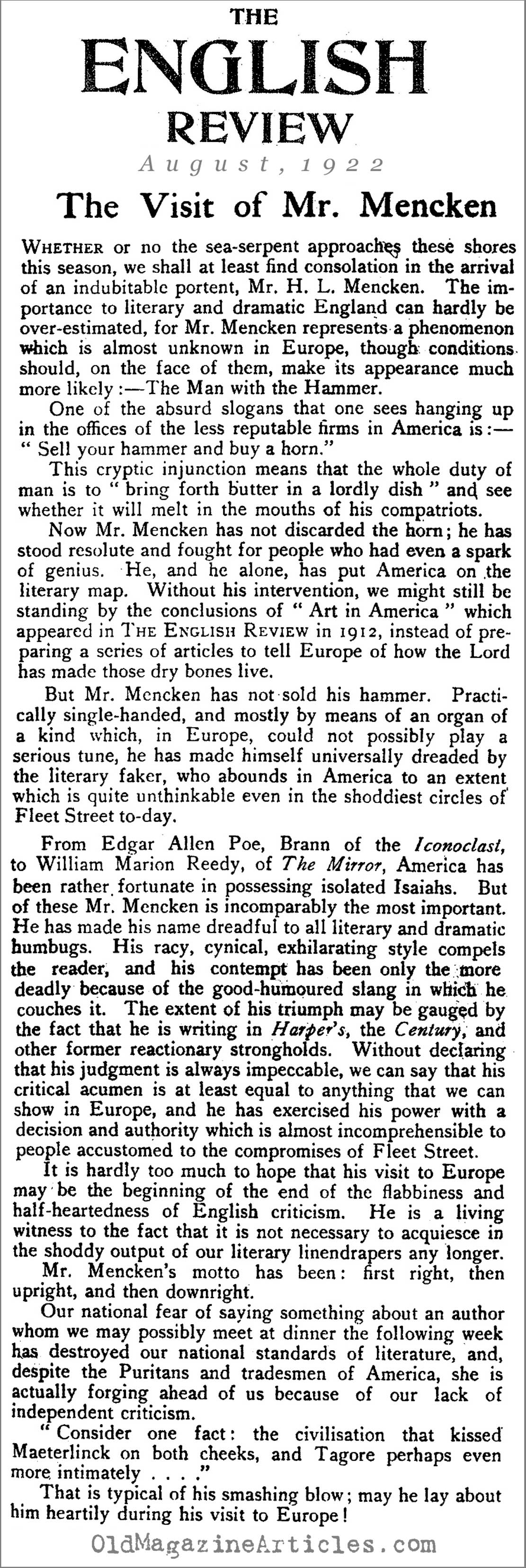 hl mencken magazine article magazine article about hl mencken a profile of h l mencken the english review 1922
