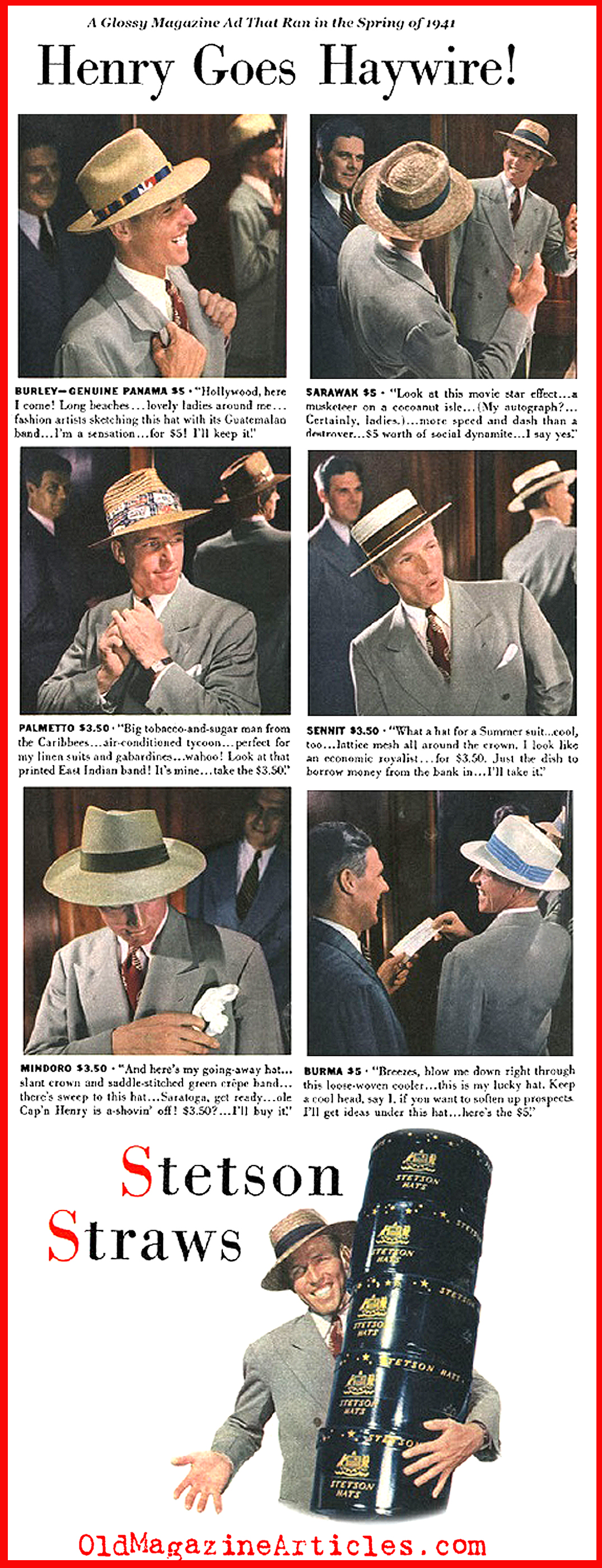 Men's Straw Hats from the Early Forties (From a 1941 Magazine Ad)