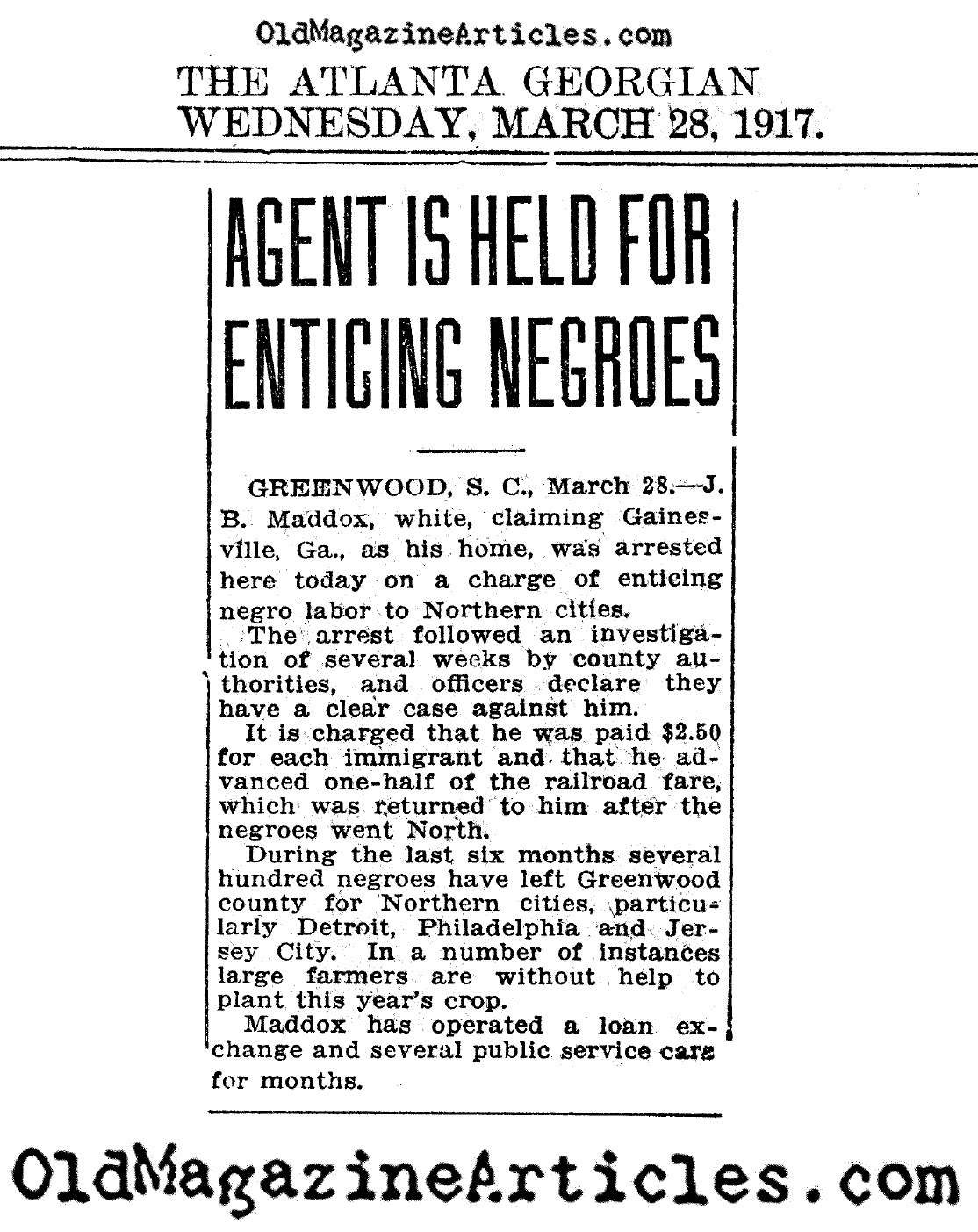 Agent is Held for Enticing Negroes  (The Atlanta Georgian, 1917)