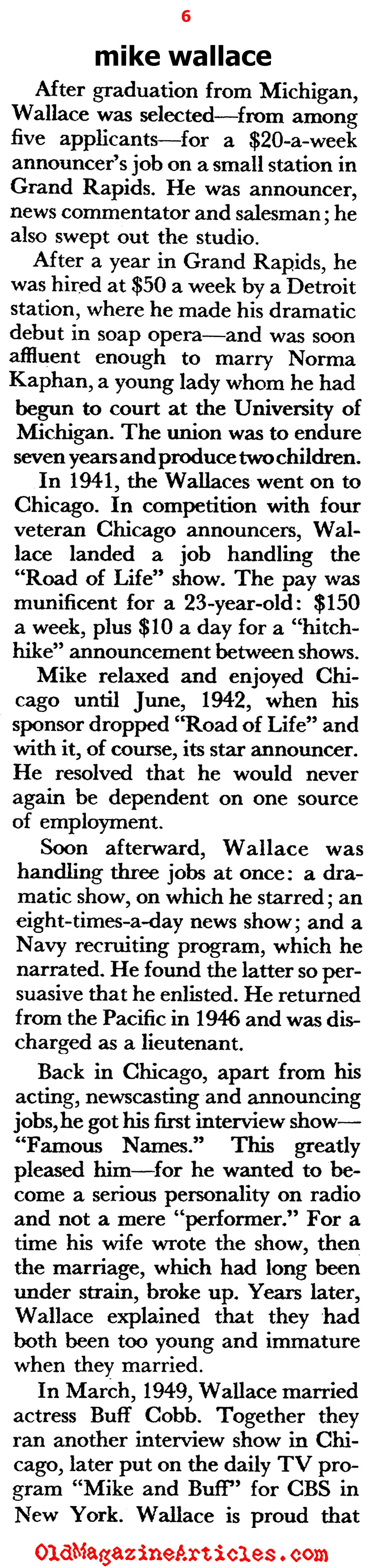 Mike Wallace of ABC (Pageant Magazine, 1957)