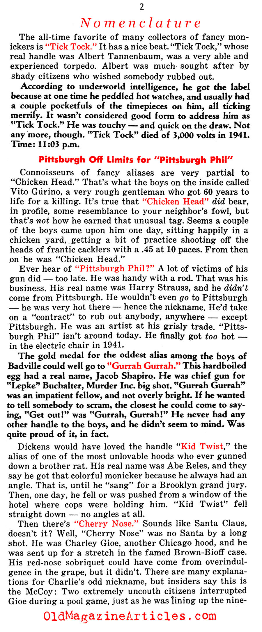 Mobsters and Their Nick-Names (Confidential Magazine, 1958)