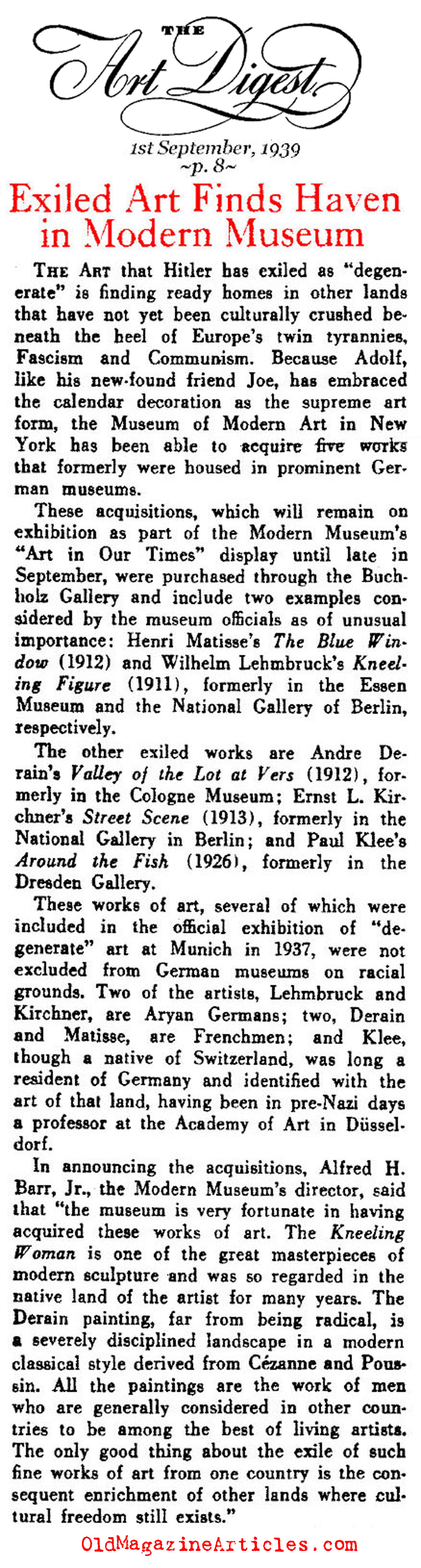 MoMA Purchased Paintings from the Degenerate Art Exhibit<BR>(Art Digest, 1939)