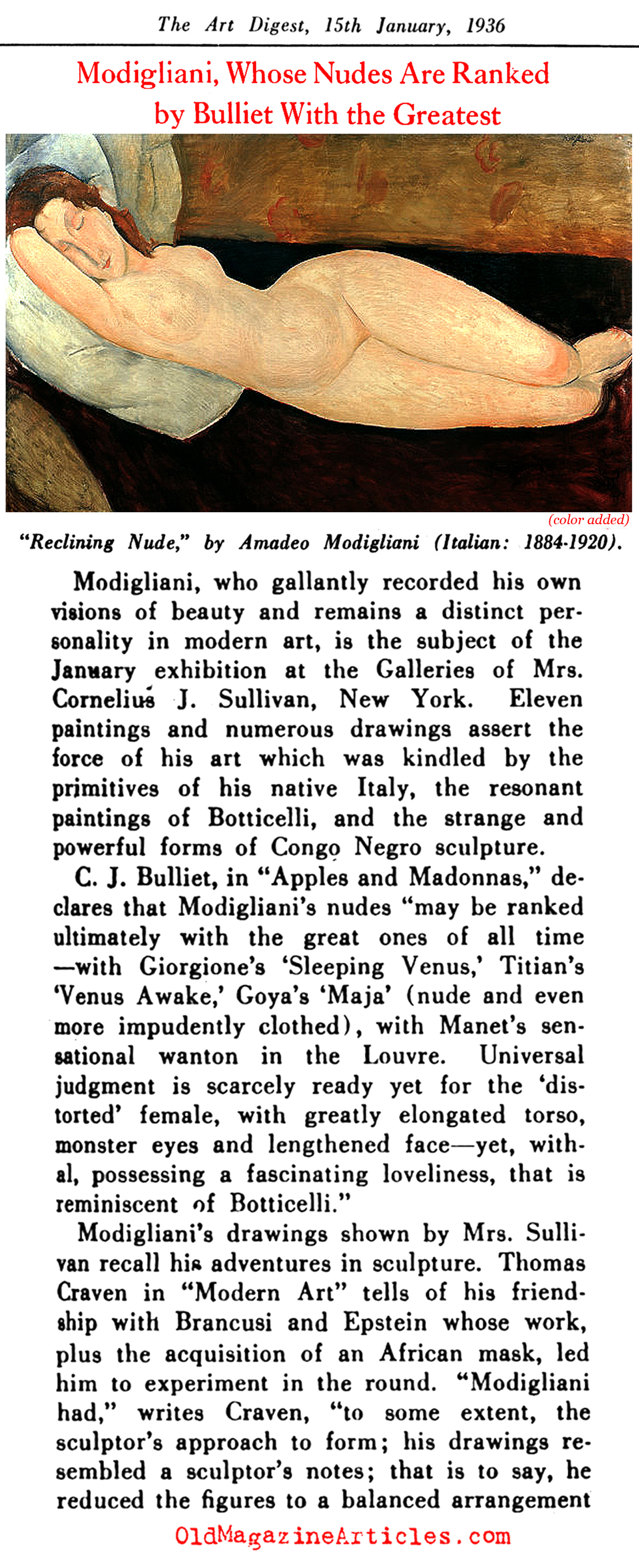 Modigliani: Appreciated at Last (Art Digest, 1936)