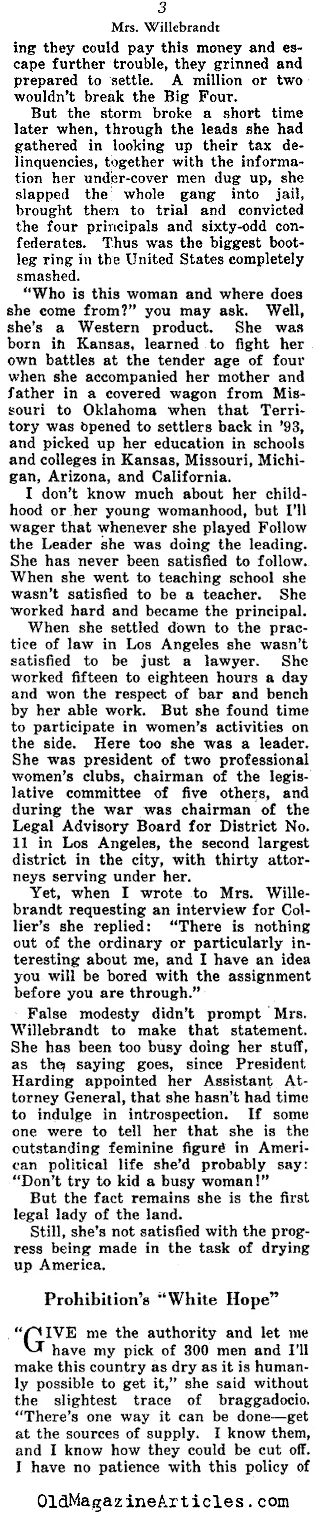 Mabel Walker Willebrandt Takes On Prohibition (Collier's Magazine, 1924)