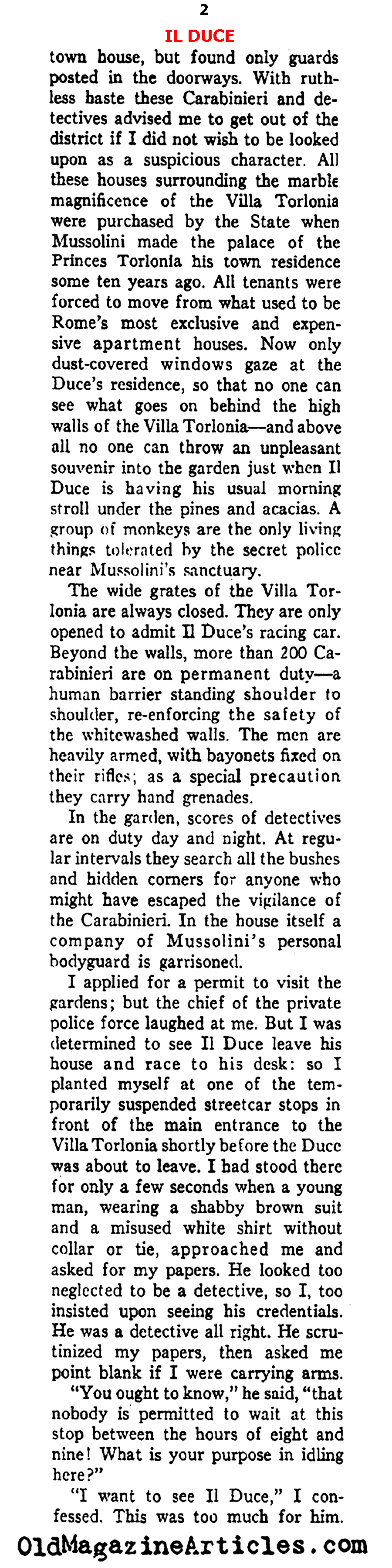 ''Steel Ring Around Mussolini'' (Ken Magazine, 1938)