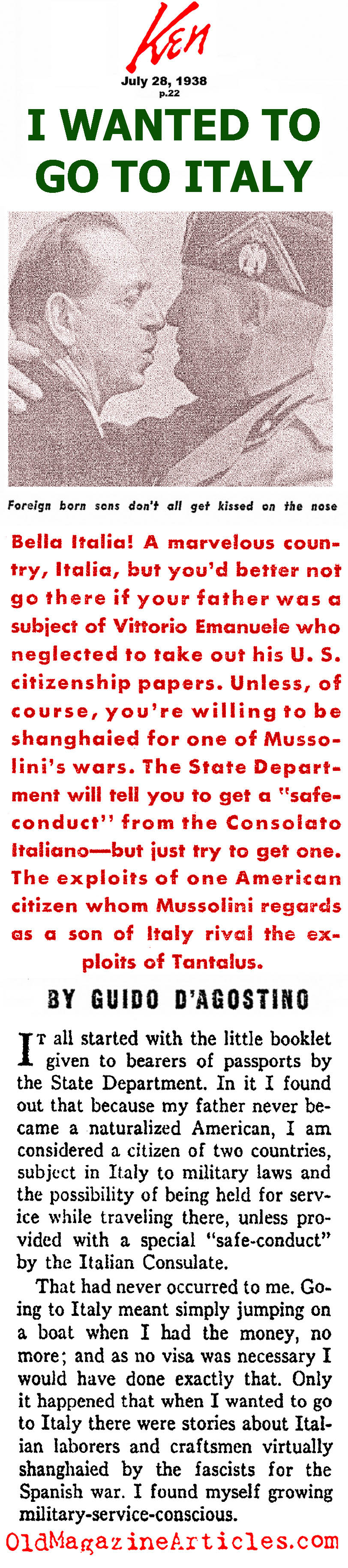 Mussolini and the Italian Expatriots (Ken Magazine, 1938)