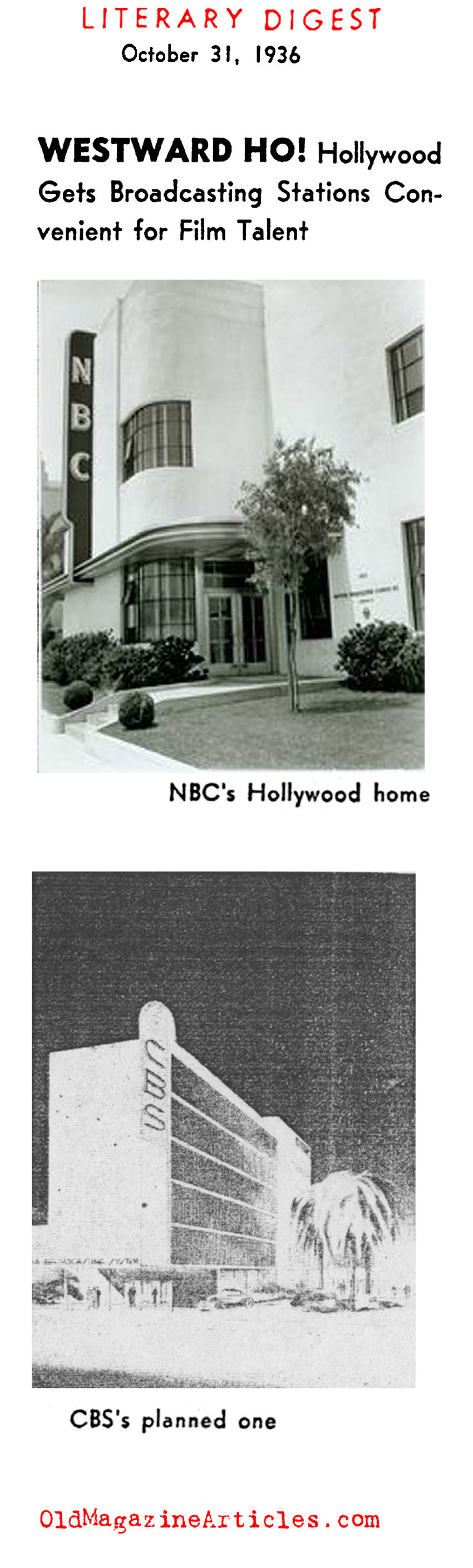 NBC and CBS Open Shop on the West Coast (Literary Digest, 1936)