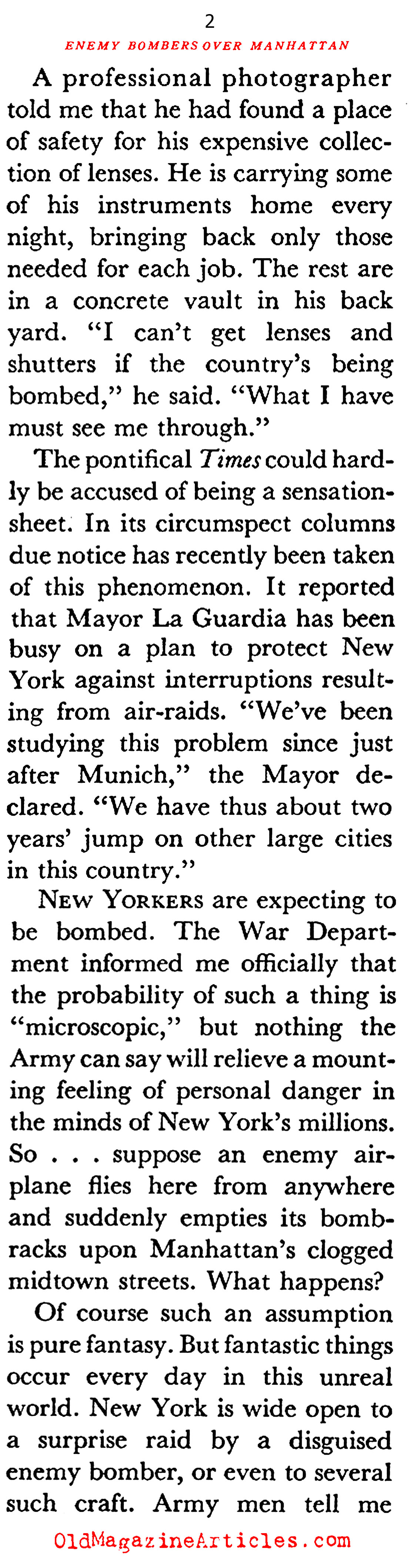 New York Beneath a Bombsight (Coronet Magazine, 1941)