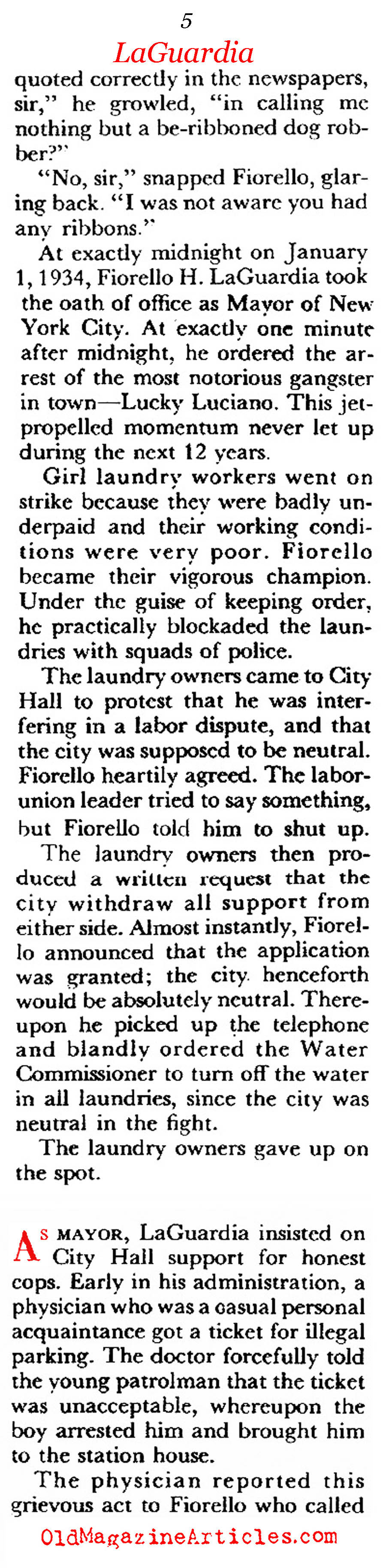 Mayor Fiorello LaGuardia (Coronet Magazine, 1956)