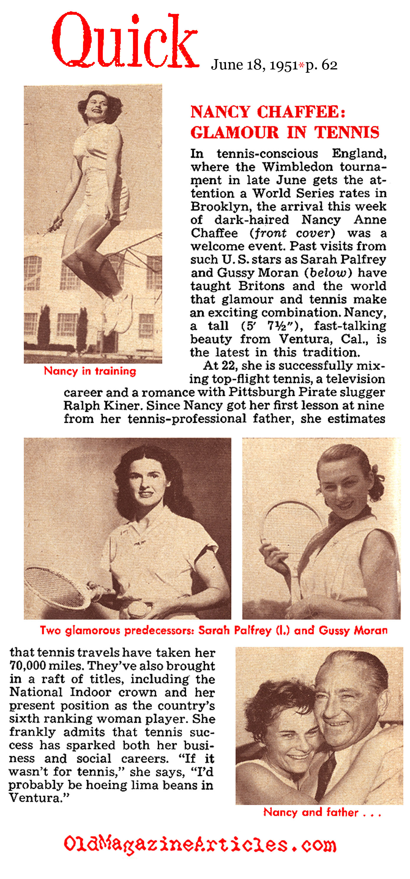 Where Glamour and Tennis Met: Nancy Chaffee (Quick Magazine, 1951)