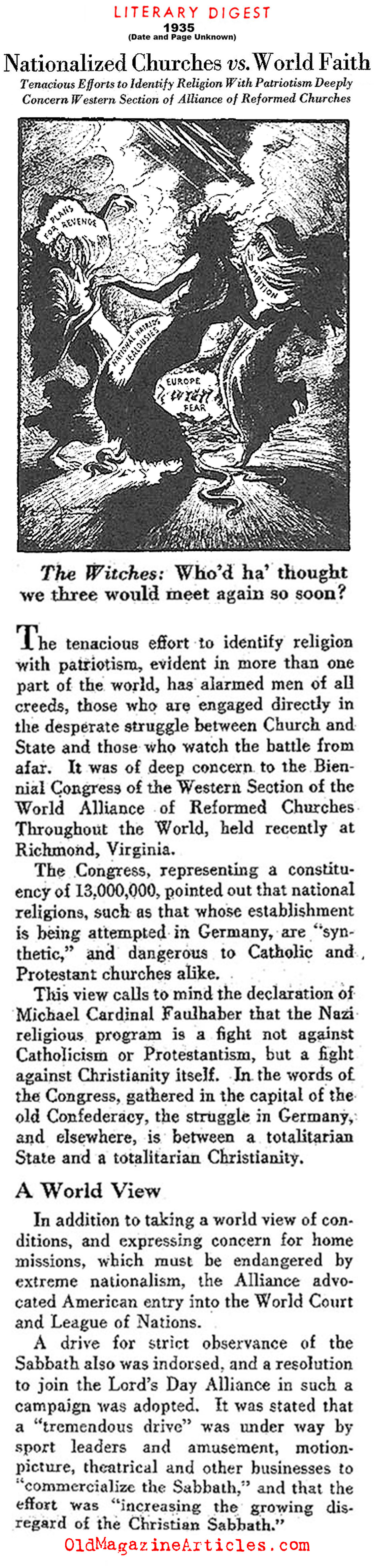 The Era of Nationalized Religions (The Literary Digest, 1935)